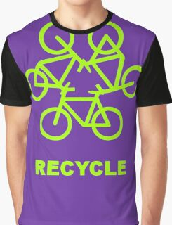Recycle Message And Bicycle Emblem Graphic T-Shirt