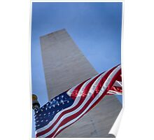 Washington Memorial and Flag Poster