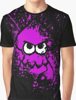 Splatoon Black Squid with Blank Eyes on Purple Splatter Mask Graphic T-Shirt