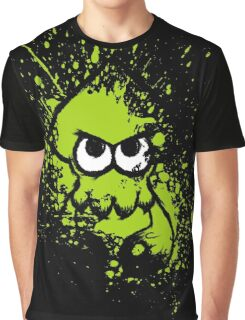 Splatoon Black Squid with Blank Eyes on Green Splatter Mask Graphic T-Shirt