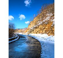 frozen road in the mountains Photographic Print