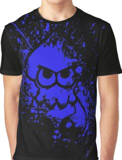Splatoon Black Squid on Blue Splatter Mask Graphic T-Shirt