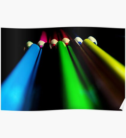 Darkened Coloured Pencils Poster