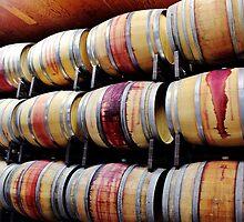 Racks of Wine Barrels by Martha Sherman