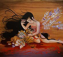 Girl and Tiger cubs by May Ann Licudine