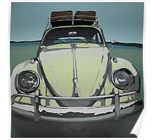 Green VW Beetle Poster
