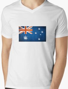 Australian Cannabis Leaf Flag Mens V-Neck T-Shirt