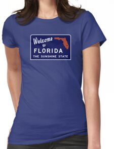 Welcome to Florida, Vintage Road Sign 70s Womens Fitted T-Shirt
