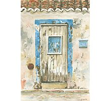 Old door, Luz, Portugal Photographic Print