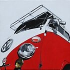 Red Split Screen Bus by samcannonart