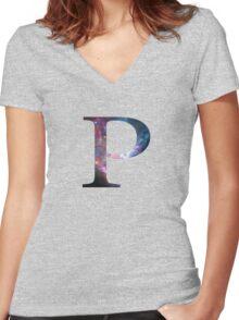 Rho Greek Letter Women's Fitted V-Neck T-Shirt