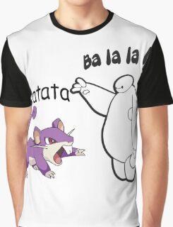 Baymax and Ratata Pokemon Fist Bump Graphic T-Shirt
