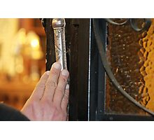 Touching the Mezuzah  of an 1888 synagogue Photographic Print