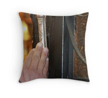 Touching the Mezuzah  of an 1888 synagogue Throw Pillow