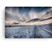 Snowy Road to Loch Mullardoch Canvas Print