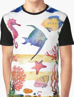 sea shells,corals and starfish. Watercolor illustration.  Graphic T-Shirt