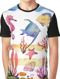 Set of different sea shells,corals and starfish. Watercolor illustration. Global color used. Graphic T-Shirt