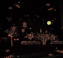 Village Green Clock and Christmas Lights by Jane Neill-Hancock