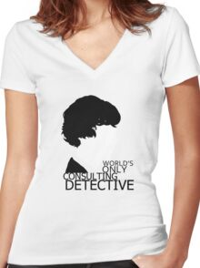 World's Only Consulting Detective V2 (for light coloured tops) Women's Fitted V-Neck T-Shirt