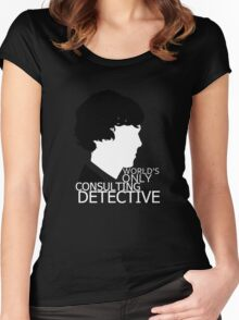 World's Only Consulting Detective V2 (for dark coloured tops) Women's Fitted Scoop T-Shirt