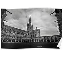 Norwich cathedral from the Cloisters. Poster