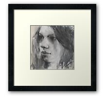 a face in charcoal Framed Print