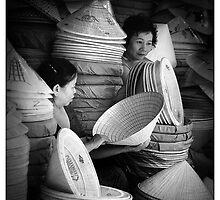 Hat Sellers, Hue City, Vietnam. by Karl Willson