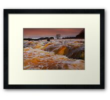 Broken Scar Weir, River Tees New Years Day, 2012. ( 3 FT's) Framed Print