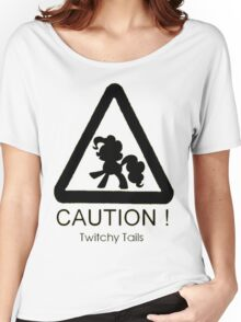 Caution twitchy tail black Women's Relaxed Fit T-Shirt