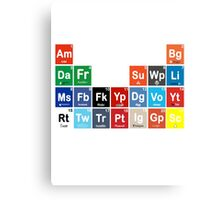 Periodic Table of Social Media Canvas Print