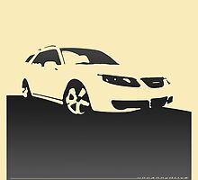 Saab 9-5, 2006 front - Black on cream by uncannydrive