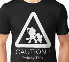Caution twitchy tail White Unisex T-Shirt