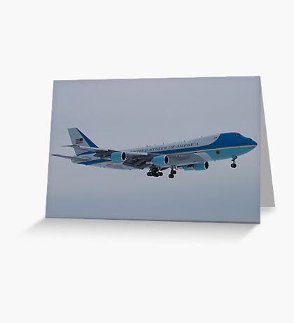 Side Shot of Air Force One On Approach to KCLE January 2012 Greeting Card