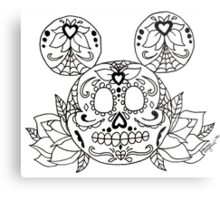 Mickey Mouse Sugar Skull Metal Print