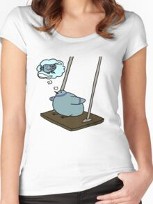 fat birb with dreams Women's Fitted Scoop T-Shirt