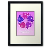 BABY ELEPHANTS PINK CARD Framed Print