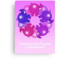 BABY ELEPHANTS PINK CARD Canvas Print