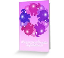 BABY ELEPHANTS PINK CARD Greeting Card