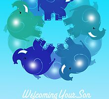 BABY ELEPHANTS BLUE(CARD) by peter chebatte