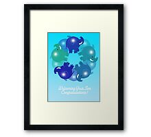 BABY ELEPHANTS BLUE(CARD) Framed Print