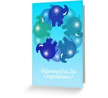 BABY ELEPHANTS BLUE(CARD) Greeting Card