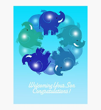 BABY ELEPHANTS BLUE(CARD) Photographic Print