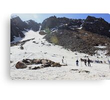 Skiing in Snow, Himalayas Canvas Print