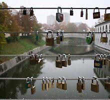 Love lock bridge, Slovenia by OneGuyInMelb
