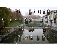 Love lock bridge, Slovenia Photographic Print