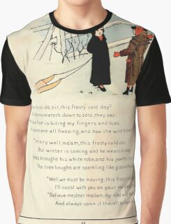 The Glad Year Round for Boys and Girls by Almira George Plympton and Kate Greenaway 1882 0052 Freezing Wind Blows Graphic T-Shirt