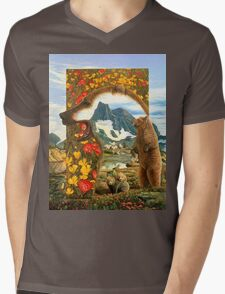 Bearly Where Bearly There Mens V-Neck T-Shirt