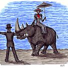 Rhino Situation surreal pen ink drawing by Vitaliy Gonikman