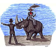 Rhino Situation surreal pen ink drawing Photographic Print