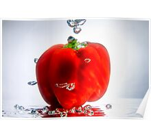 Red Pepper in Bubbles Poster